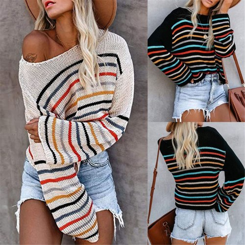 Lightweight Strip Off Shoulder Knit Tops