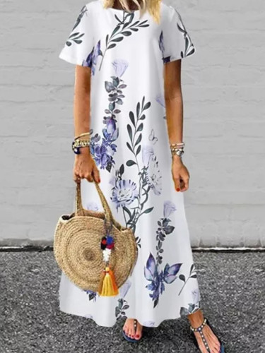 Bohemian Women Short Sleeve Floral Printed Long O-Neck Casual Dress