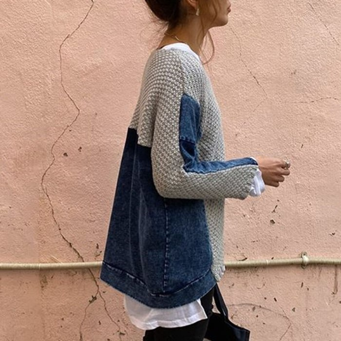 Casual Women Patchwork Sweater Tops Straight Knitted Denim Jumper Sweater