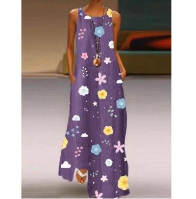 Women's Sleeveless Dress Summer Casual Loose Sleeveless Long Maxi Dresses