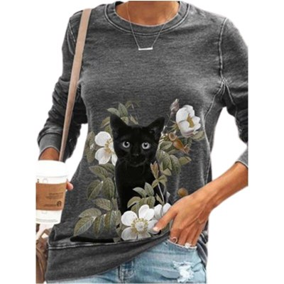 Cute Cat Print Casual Long Sleeve Autumn New Cartoon Women's Top