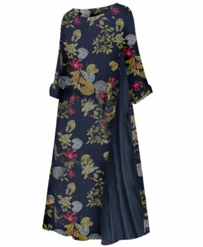 Summer Women Short Sleeve Loose Long Casual Bohemian Vintage Printed Cotton Linen Dress