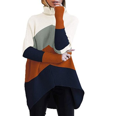Winter ladies Turtleneck long sleeve batwing sleeve pullover knitted sweater