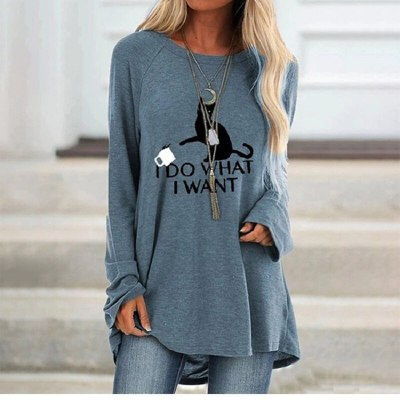 Autumn Women Casual Cartoon Cat Printing Long Sleeved Letters Top