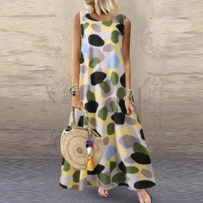 Women Summer Casual Linen Loose Sleeveless printed Long Maxi Dress