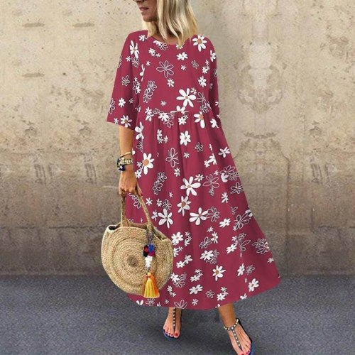 Bohemian Floral Printed High Waist Women Casual  Long Maxi Dress