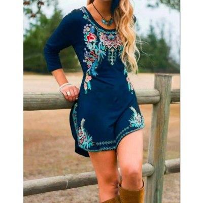 Long Sleeve Dress Fashion Round Neck Split Casual High Waist A-Line Casual Womens Dress