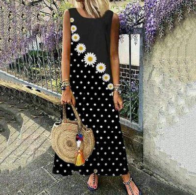 Women Elegant Sleeveless Boho Print  Summer Casual Maxi Dress