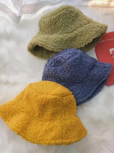 Winter Bucket Hat Women Lambswool  Warm Soft Fashion High-quality Outdoor