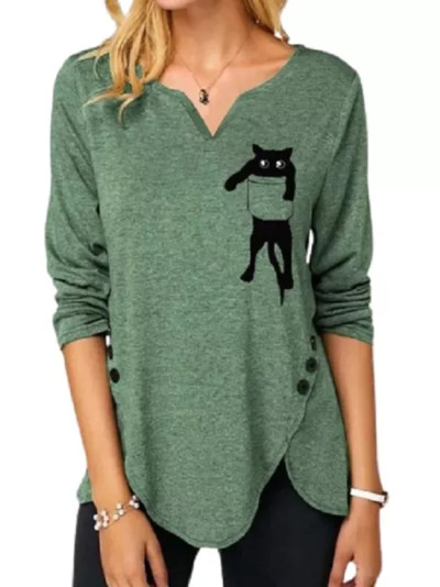 Women Lovely Pocket Cat Printing Long Sleeve V-Neck Casual Button Top
