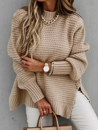 Sweaters Women O-Neck Loose Casual Solid Long-Sleeved