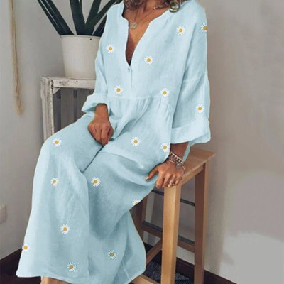 Women  Summer V Neck Long Sleeve Plus Size Loose Maxi Dresses