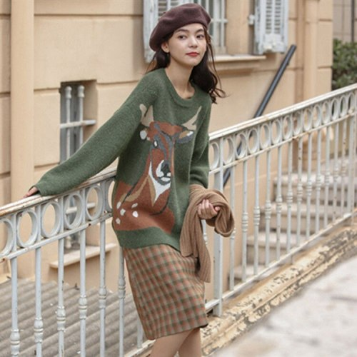 Autumn Winter Women Casual Loose Sweater Female Cute Printed Knitted Pullovers
