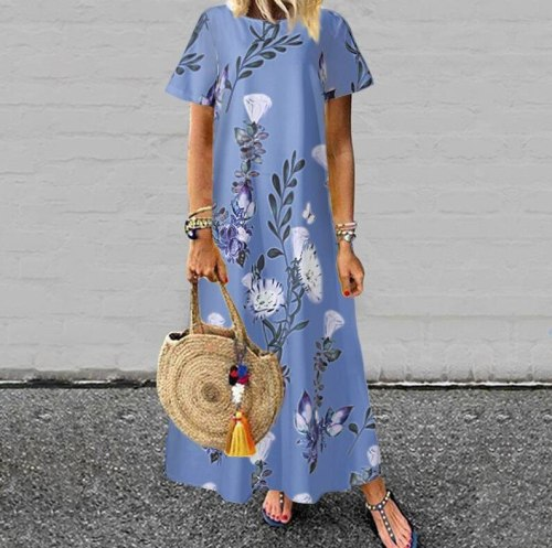 Bohemian Women Short Sleeve Floral Printed Long O-Neck Casual Dress