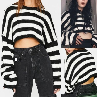 Vintage Striped Gothic Sweaters Oversize Long Sleeve O-Neck Pullovers