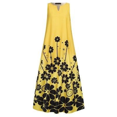 Women's Printed  Bohemian Summer Casual Sleeveless Vestidos V Neck Long Maxi Dress