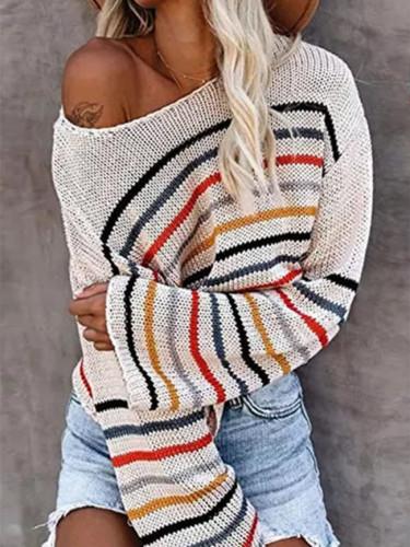 Lightweight Strip Off Shoulder Knit Tops