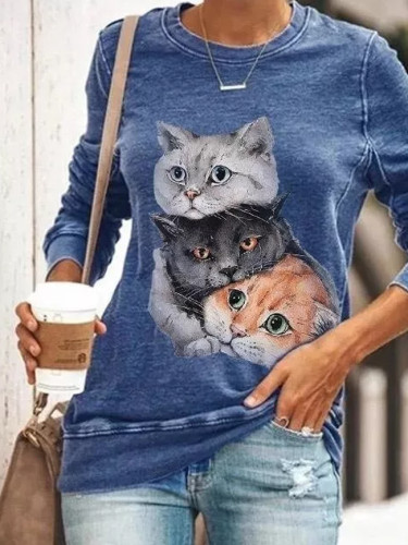 Autumn Women Cartoon Kitten Printed O-Neck Long-Sleeved Fashion Top