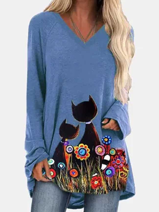Flower Cat Printed Long Sleeve V Neck Autumn Winter Oversized Tee Shirt