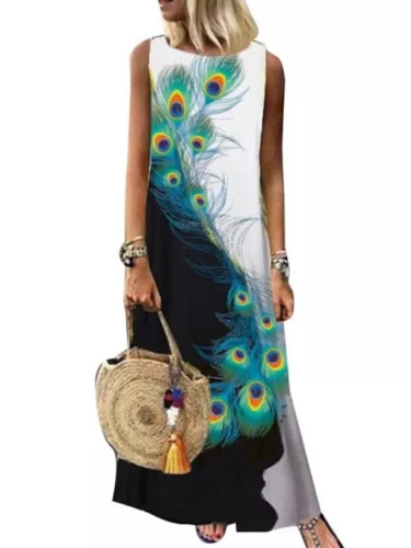 Women Sleeveless Boho Summer Ladies Vintage Casual Maxi Dress