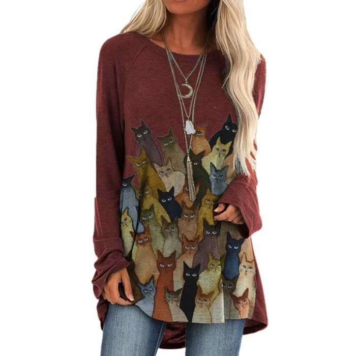 Loose Casual Lovely Cats Print Long Sleeve Autumn Cartoon Oversized Top
