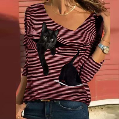 Vintage Cat Striped Print Elegant Square Collar Women Long Sleeve Blouse