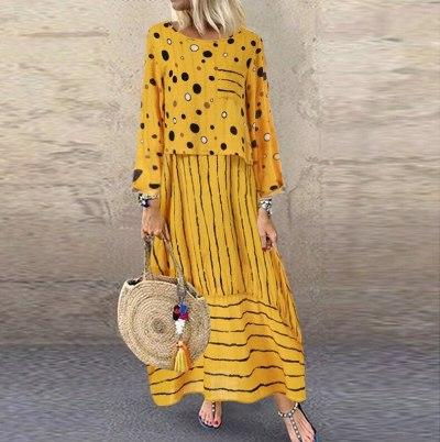 Polka Dot Yellow Two-piece Set Summer Sundress O-Neck Dress