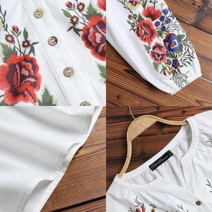 Bohemian Spring Shirts Casual Long Sleeve Floral Tops