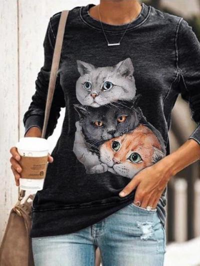 Autumn Women Cartoon Kitten Printed O-Neck Long-Sleeved Fashion Top
