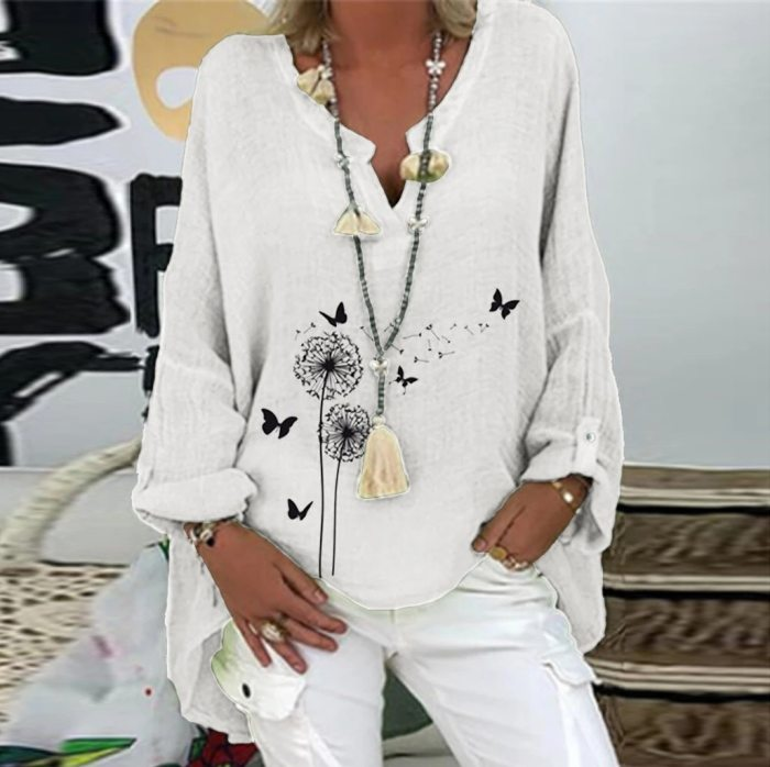 Blouses Summer O-Neck Tunic Tops Casual Short Sleeve Print Oversize Blouse