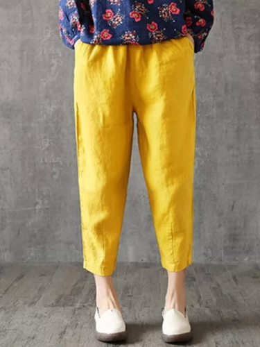 Women Autumn Casual Loose Lady Fabric Linen Cotton  Solid pants