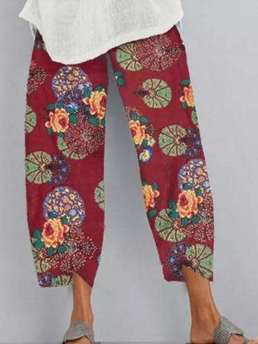 Vintage Linen Summer Casual Elastic Waist Asymmetrical Female Cropped Pants