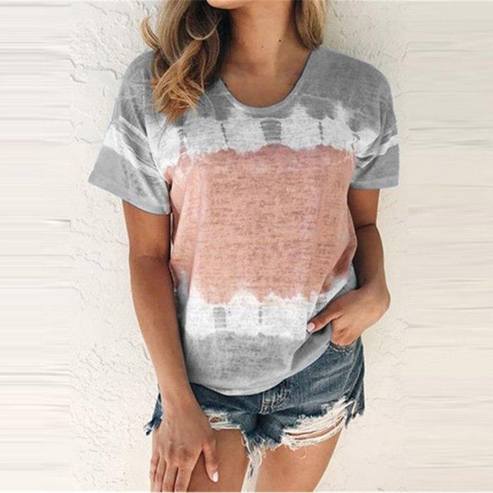 Women Summer O-Neck Sexy Gradient Print Regular Women Short Seleves Top