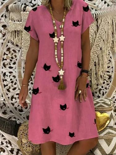 Women Cat Summer Casual Loose Vestido Comfy Cotton Dresses