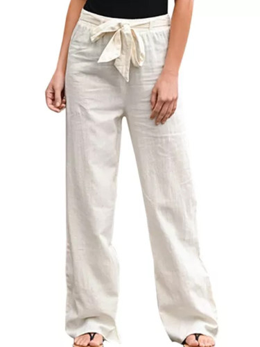 Women Cotton Solid Straight Trousers Casual Elastic Waist Long Pant
