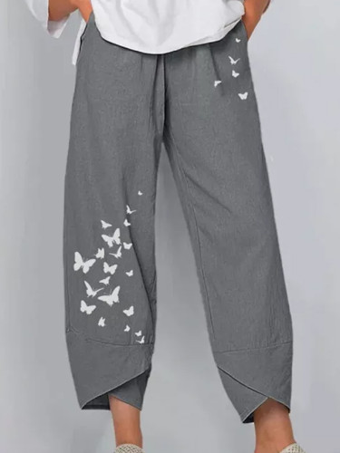 Gray European And  Casual Loose Cotton And Linen Butterfly Printed Wide-leg Pants