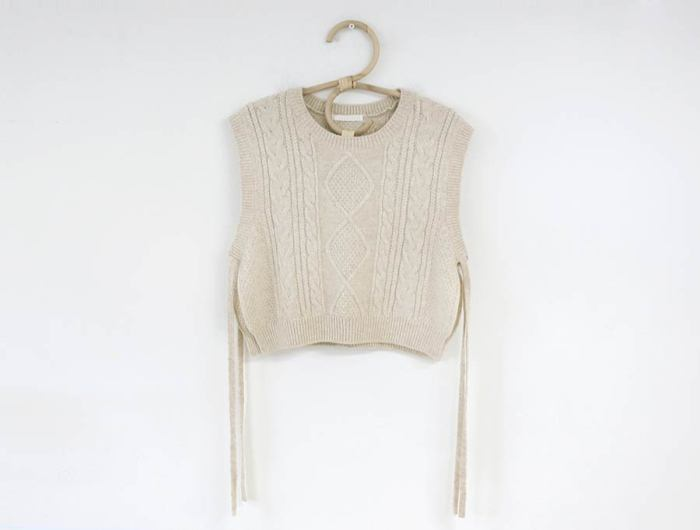 Side Cut Loose Sleeveless Sweater Knitted Vest V Neck