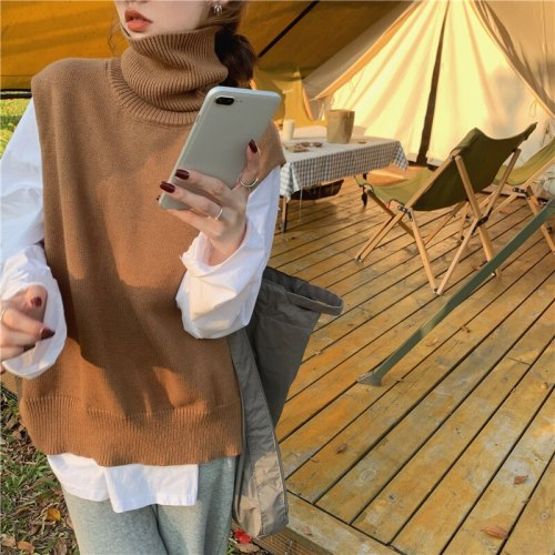 Autumn Winter Women Sweaters Turtleneck Vest Cutout Sleeveless