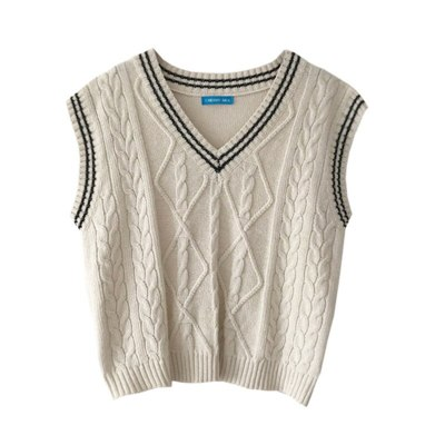 V-neck color patchwork vest sweaters womens knitted sweaters