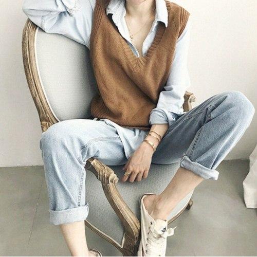 knitted vest v neck joker womens winter outerwear
