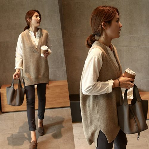 New V neck Pullover vest short Knitted Women Sweaters vest Sleeveless Warm