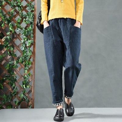Autumn Winter New Arts Style Women Elastic Waist Loose Casual Pants