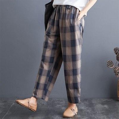 Spring Autumn Women Vintage Loose Pants Cotton Linen Plaid Casual  Casual Pants