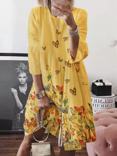 Hot style vintage print butterfly O neck autumn winter dresses