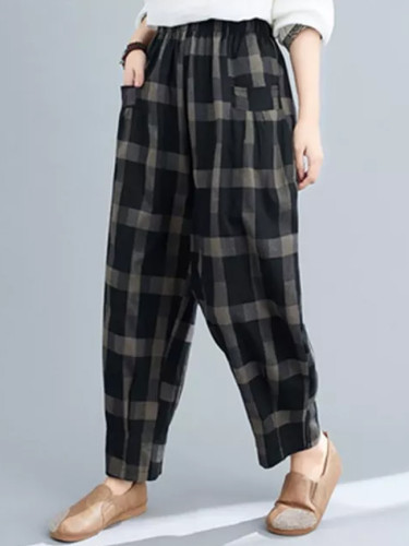 Spring Autumn Women Loose Vintage Cotton Linen Plaid Casual Pants