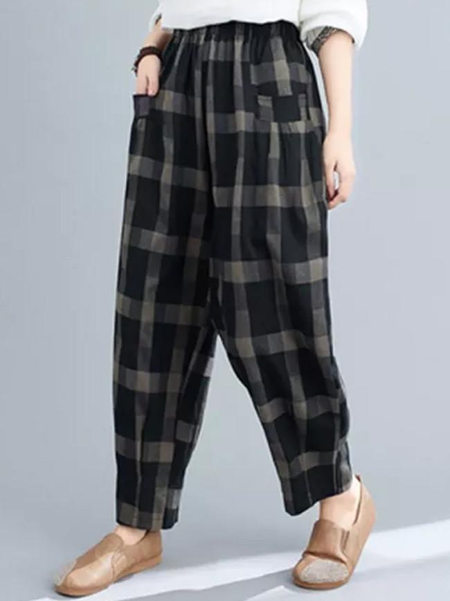 Spring Autumn Women Loose Vintage Cotton Linen Plaid Casual Pants
