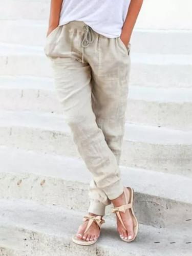 Loose Cotton Linen Pant Women Soft  Breathable Slim Ankle Length  Pants