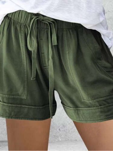 Women's Casual Elastic Waist Cotton Linen Shorts Pink Pocket Short Pants