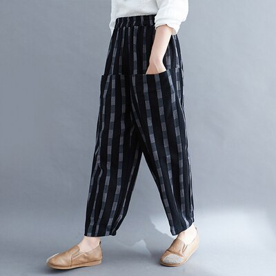 Spring Autumn New Arts Style Women Loose Striped Casual Pants