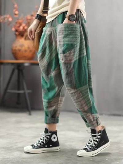 Spring Summer Elastic Loose Casual cotton linen vintage Plaid Pants